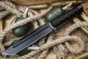 "Нож фирмы Kizlyar Supreme "" Survivalist"" Z AUS-8 Black Titanium Serrated"